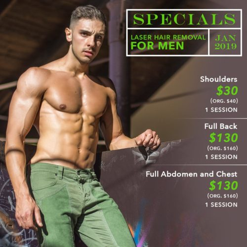 Pure Touch Skin Center Specials - January 2019 - Men Laser Hair Removal