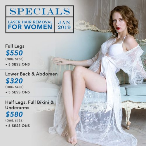 Pure Touch Skin Center Specials - January 2019 - Women Laser Hair Removal